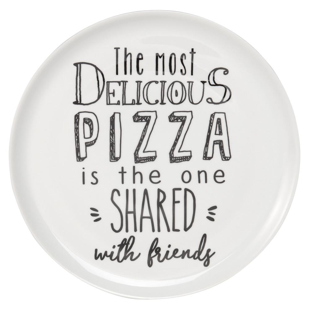 Pizzateller aus Porzellan weiss, bedruckt