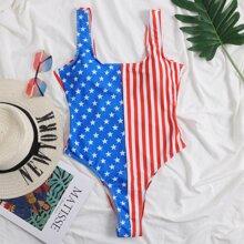 Einteiliger Badeanzug mit amerikanischer Flagge Muster
