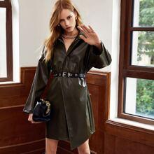 Zip Up Drop Shoulder Belted PU Leather Dress