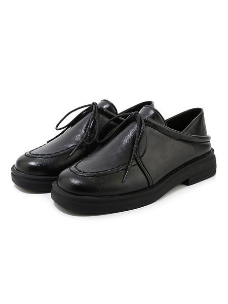 Milanoo Zapatos casuales planos con punta redonda convertible Oxfords para mujer