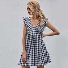 Gingham Ruffle Trim Zip Back Dress
