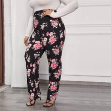 Plus Floral Print Elastic Waist Pants