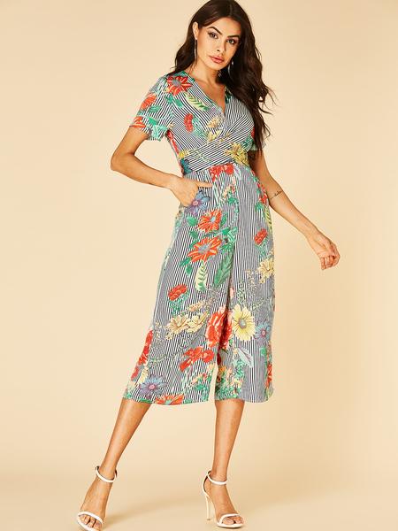 YOINS Floral Wrap Design Floral Print V-neck Jumpsuit