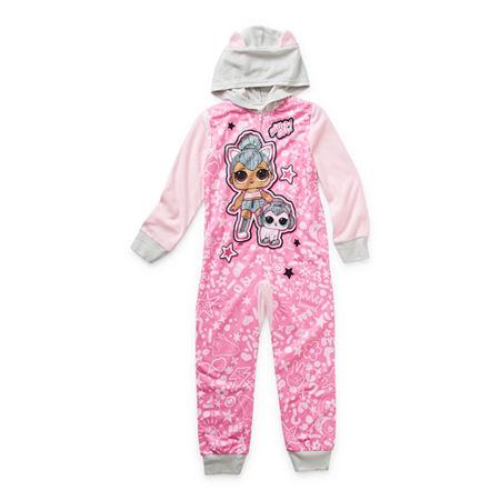 Little & Big Girls Microfleece LOL Long Sleeve One Piece Pajama, 4 , Pink
