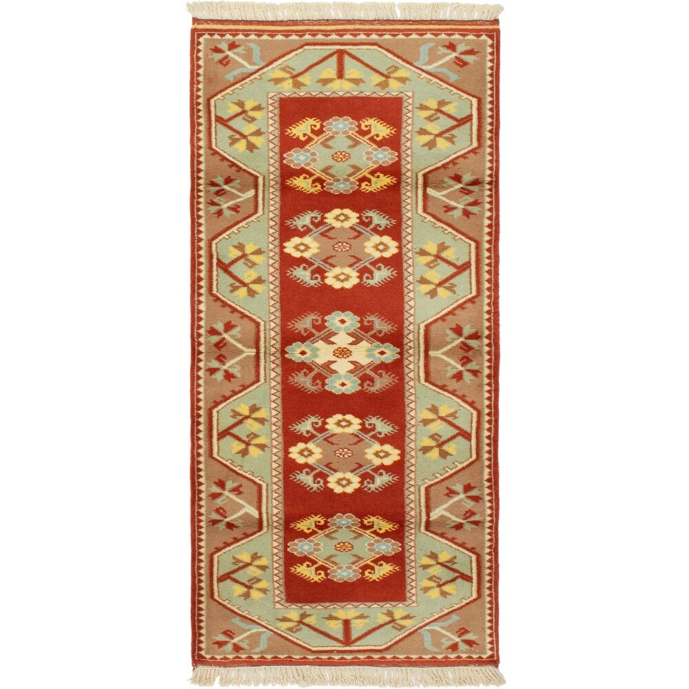 ECARPETGALLERY Hand-knotted Ushak Copper, Dark Copper Wool Rug - 2'8 x 6'0 (Copper/ Dark Copper - 2'8 x 6'0)