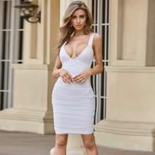 Sesidy vestido ajustado con malla fruncido con cremallera trasera
