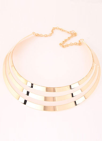 Milanoo Gold Necklace Cut Out Metal Punk Necklace for Women