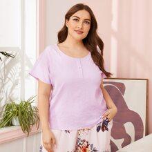 Texturierter Schlafanzug Set mit halber Knopfleiste und Blumen Muster