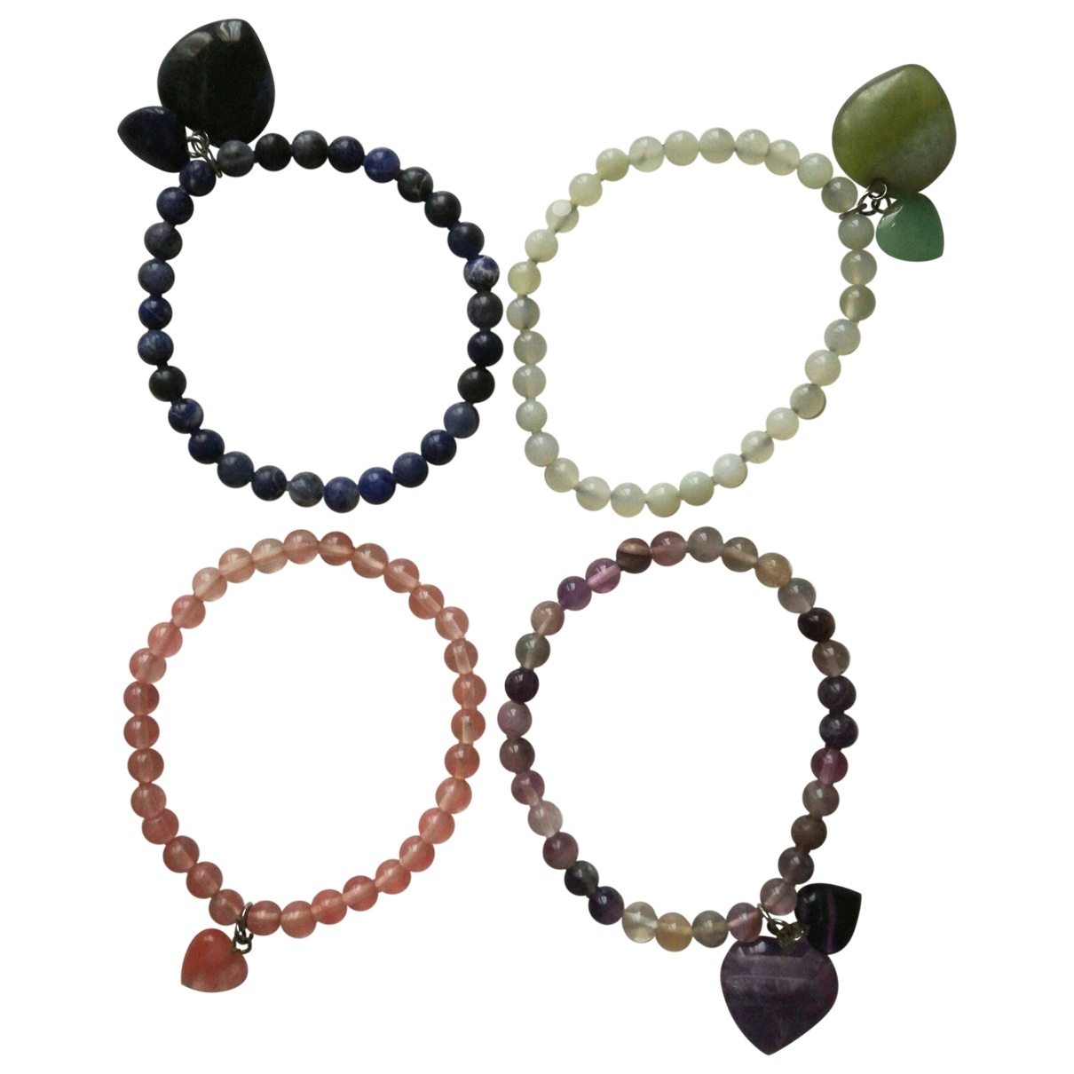 Non Signe / Unsigned Motifs Coeurs Armband in  Bunt Metall