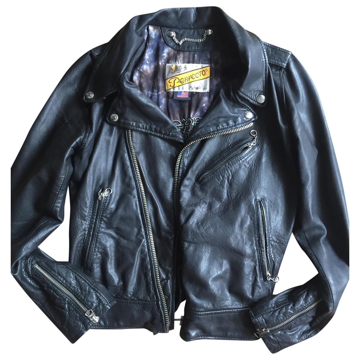 Schott \N Black Leather Leather jacket for Women S International