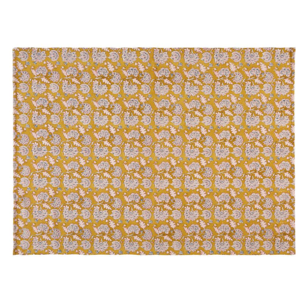 Teppich aus senfgelber Baumwolle, gemustert, 140x200