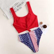 Star & Striped Knot Front Bikini Swimsuit