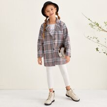 Girls Notch Collar Single Breasted Plaid Overcoat