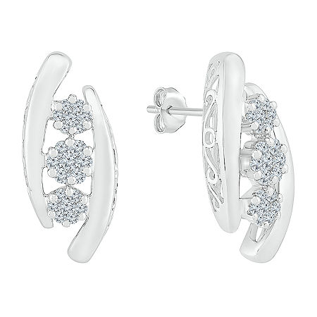 5/8 CT. T.W. Genuine White Diamond 10K White Gold Drop Earrings, One Size , No Color Family