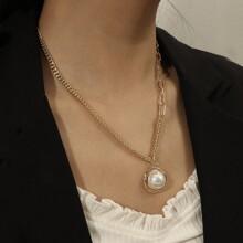 Collar colgante de perla artificial