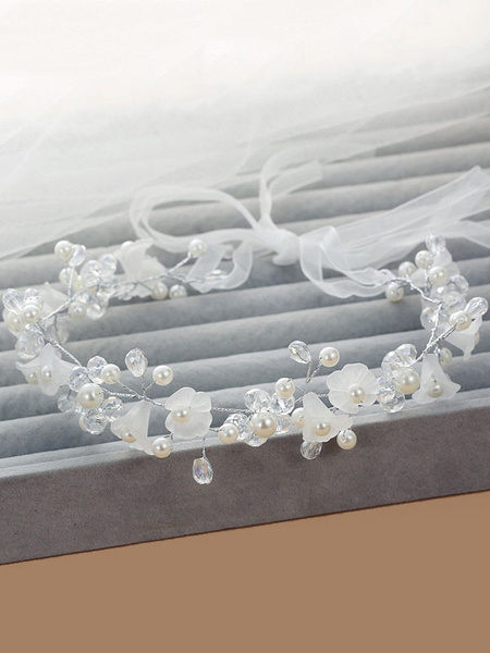 Milanoo White Wedding Headpieces Pearls Headband Ribbon Beaded Bridal Hair Accessories