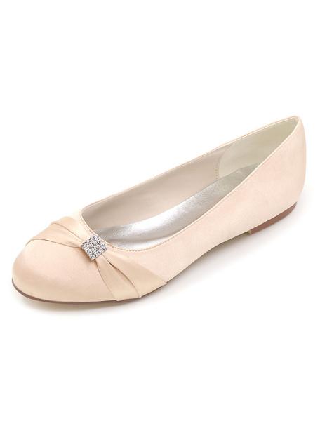Milanoo Zapatos de novia de saten Zapatos de Fiesta Morado Zapatos de puntera redonda Zapatos de boda 0.5cm con pedreria