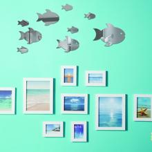 10 piezas pegatina de pared de espejo de pez