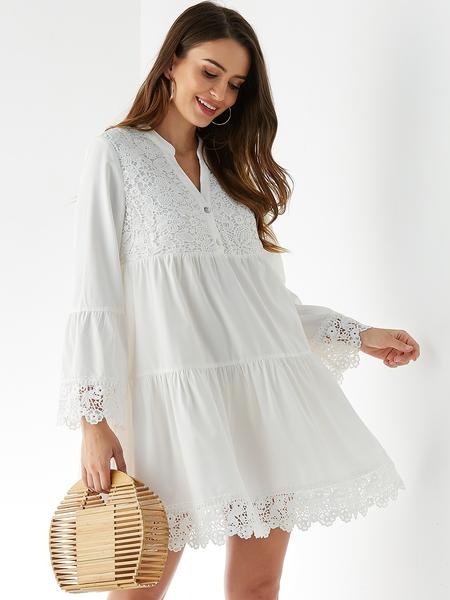 YOINS White Button Design V-neck Long Sleeves Lace Dress