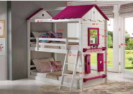 1570-TTWP_1575-TP Sweet Heart Bunk in White/Pink Tent