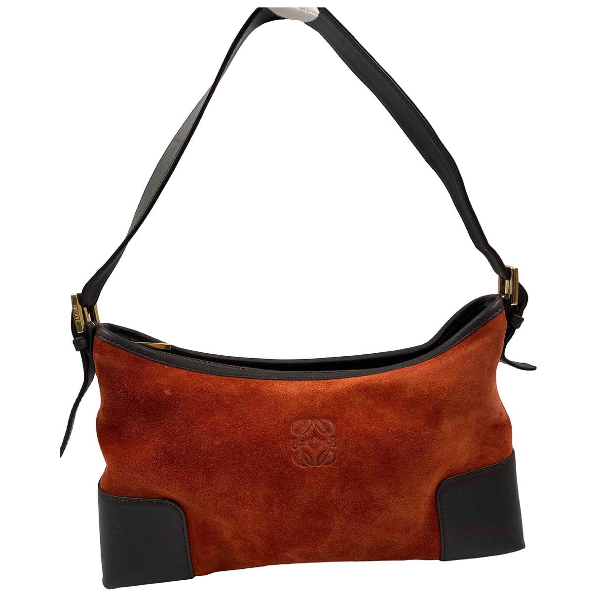 Loewe \N Handtasche in  Orange Veloursleder