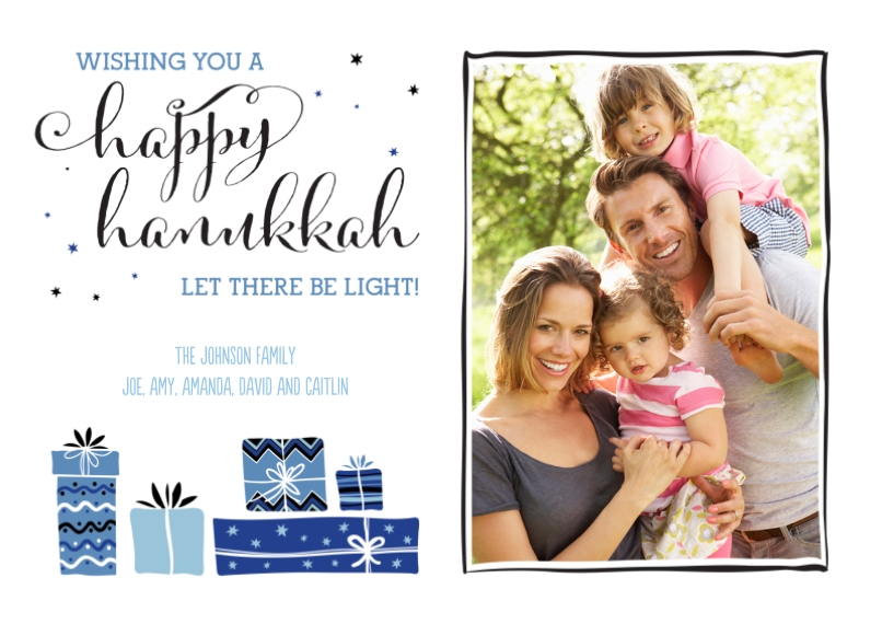 Hanukkah Photo Cards 5x7 Cards, Premium Cardstock 120lb with Scalloped Corners, Card & Stationery -Hanukkah Gift Boxes