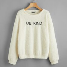 Drop Shoulder Embroidery Letter Teddy Pullover