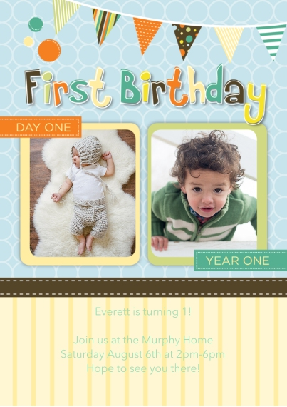 1st Birthday Invitations 5x7 Cards, Premium Cardstock 120lb with Rounded Corners, Card & Stationery -Whimiscal Milestone First Birthday, Boy