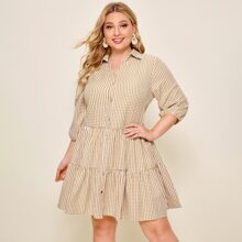 Plus Collared Single Breasted Gingham Smock Dress