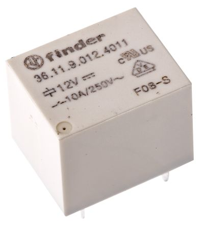 Finder , 12V dc Coil Non-Latching Relay SPDT, 10A Switching Current PCB Mount, 2 Pole
