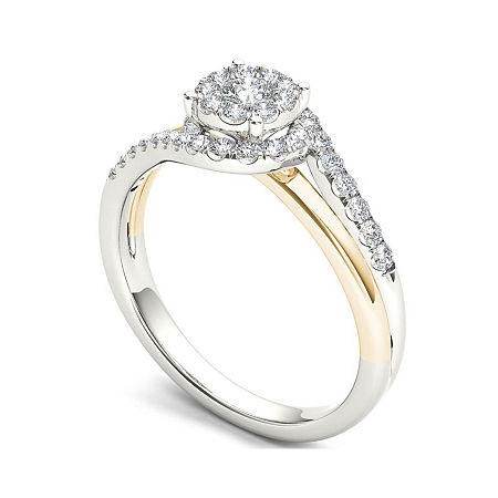 1/2 CT. T.W. Diamond 10K Two-Tone Gold Engagement Ring, 7 1/2 , No Color Family