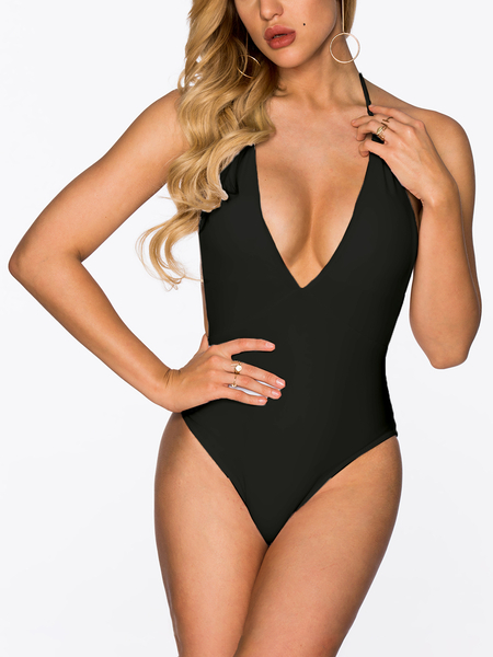 Yoins Black Backless Design Deep V-Neck One Piece Swimwears