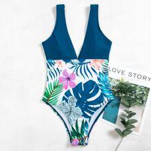 Einteiliger Badeanzug mit tropischem & Blumen Muster