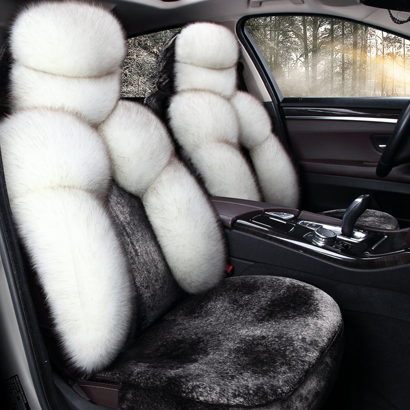5-Seater Full Coverage Winter Warm Custom Made Cashmere Material Airbag Compatible No Hair Removal Fluffy Soft Universal Fit Seat Cover