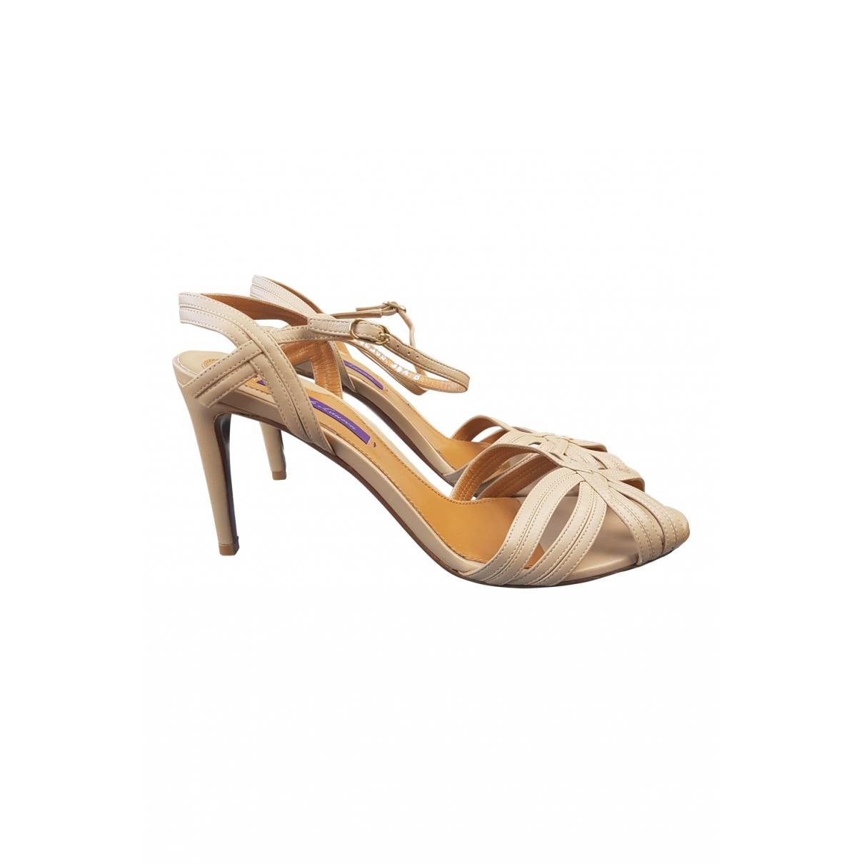 Ralph Lauren Collection - Sandales   pour femme en cuir - beige