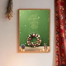 Pintura de pared con estampado de guirnalda de navidad sin marco