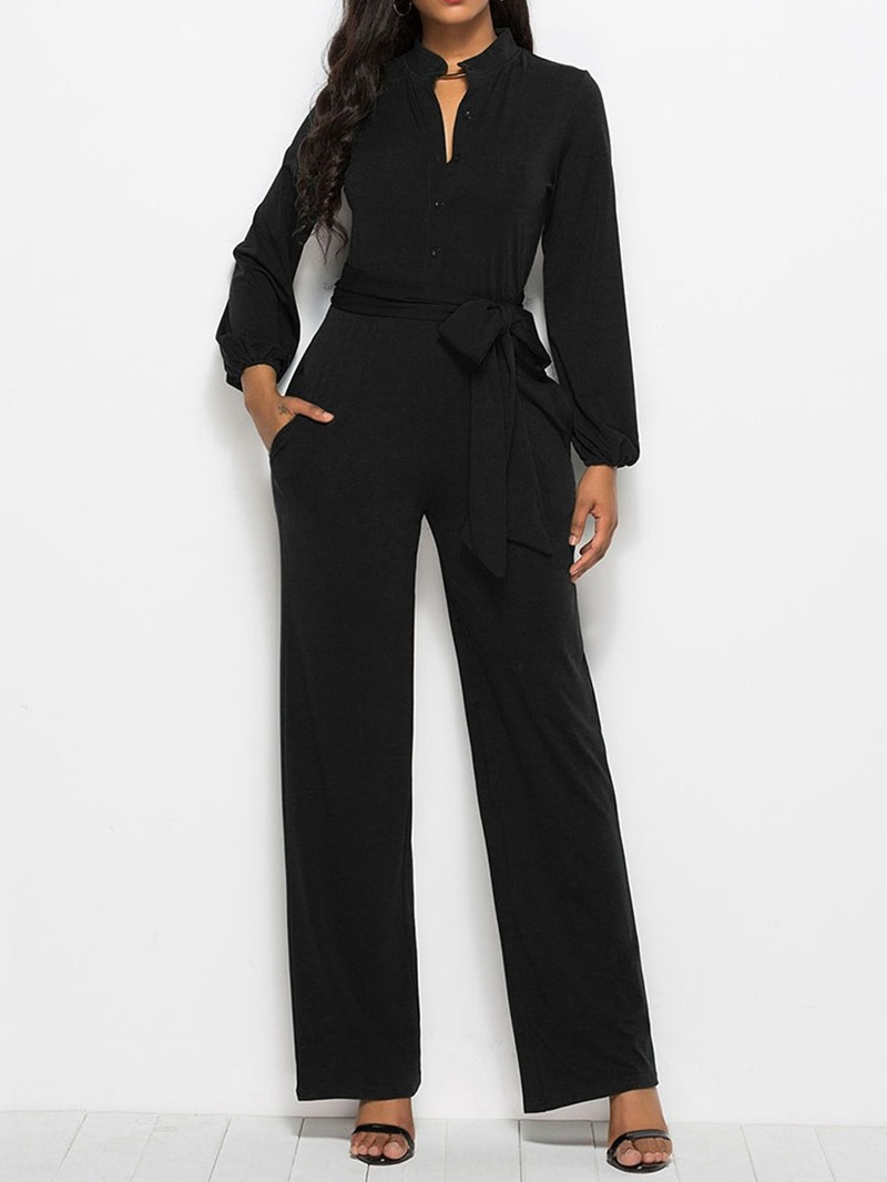 Ericdress Plain Lace Up Women's Jumpsuit