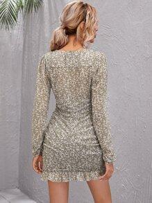Lantern Sleeve Ditsy Floral Ruffle Hem Dress