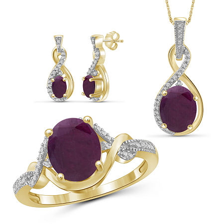 Diamond Accent Lead Glass-Filled Red Ruby 14K Gold Over Silver 3-pc. Jewelry Set, 6 , No Color Family