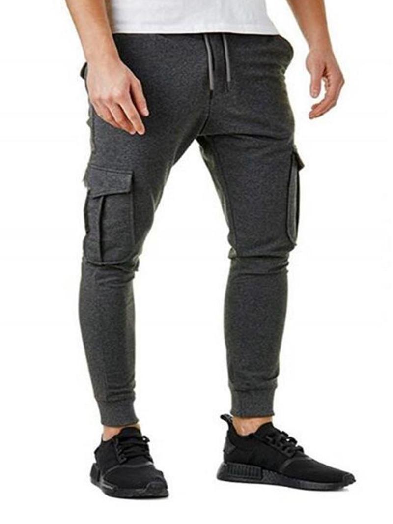 Ericdress Plain Pocket Pencil Pants Lace-Up Casual Pants