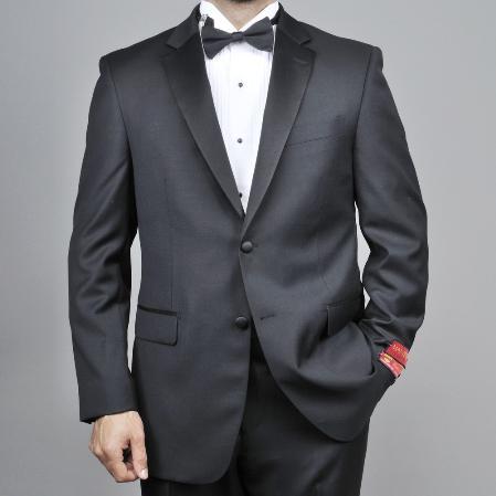 Mens 2button Black Wool Tuxedo