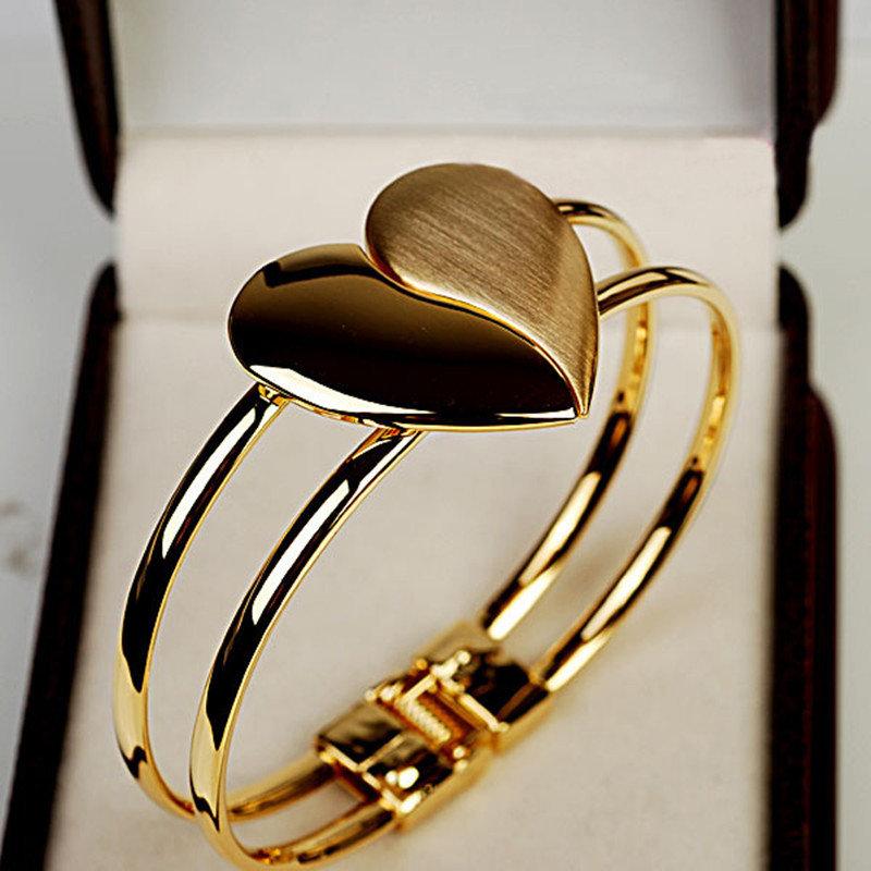 Trendy Metal Geometric Frosted Peach Heart Bracelet Shiny Double Heart Splice Bracelet