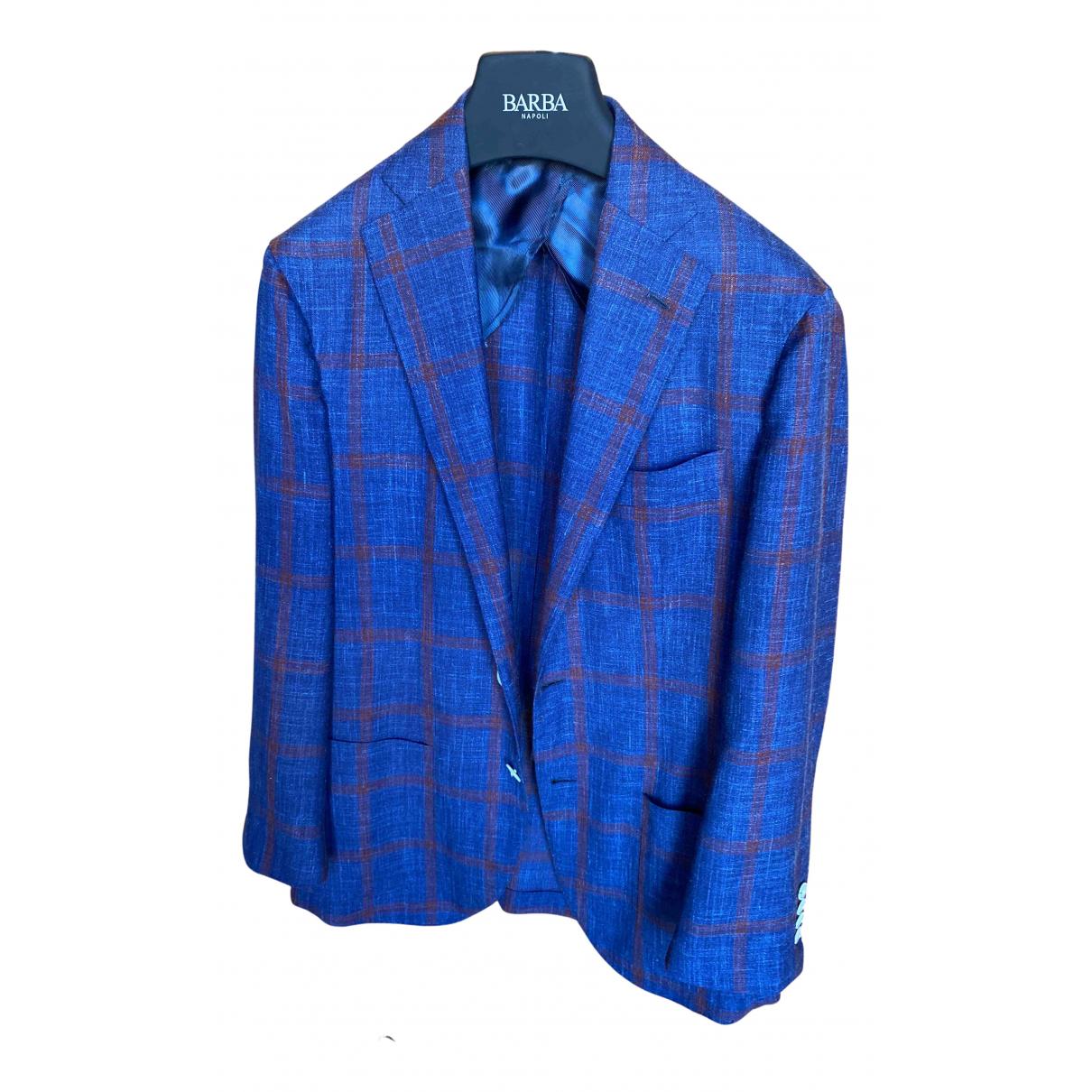 Barba N Blue Wool jacket  for Men 48 IT