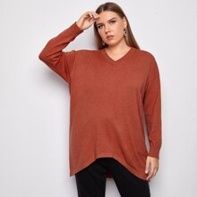 Pullover mit V-Kragen, sehr tief angesetzter Schulterpartie und Stufensaum