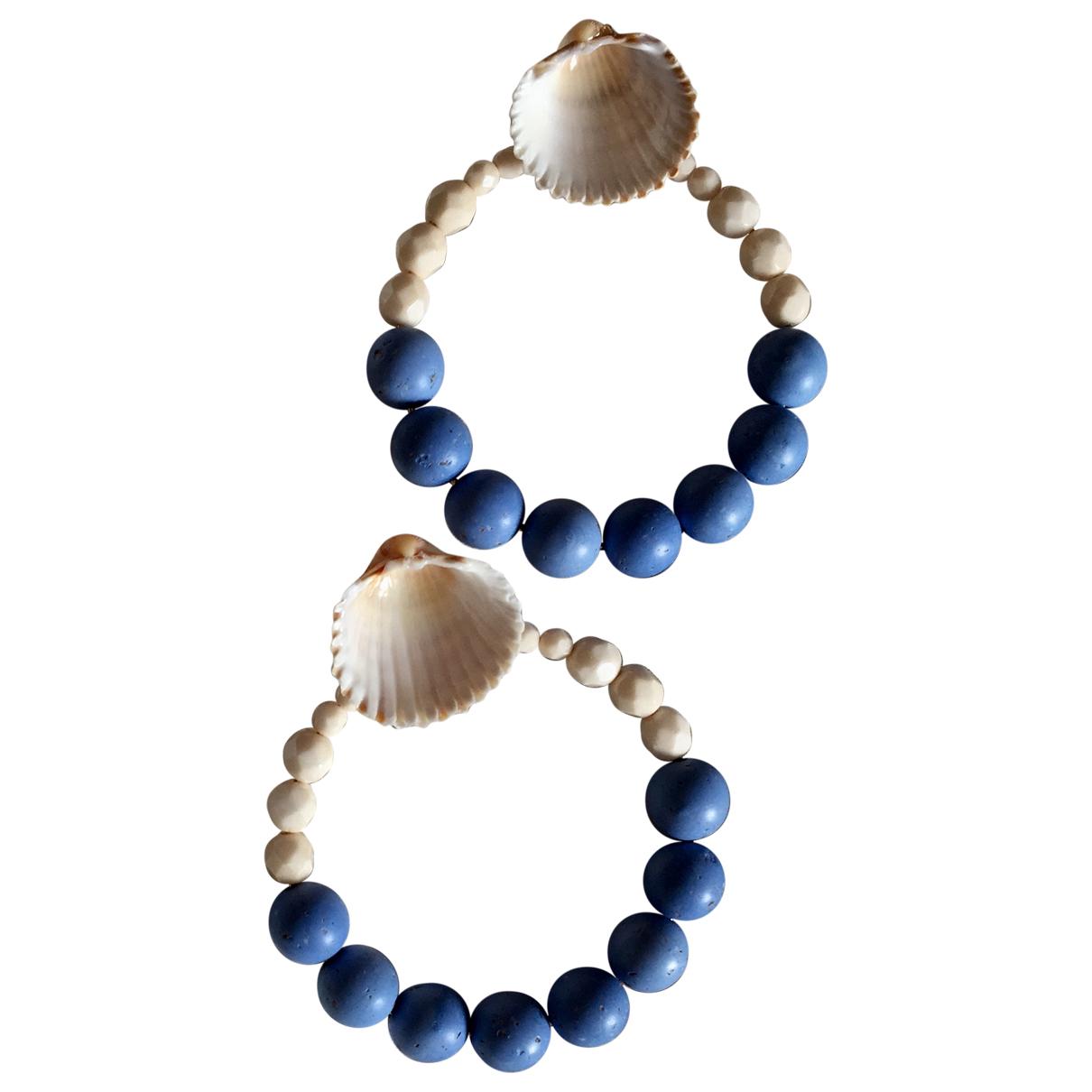 - Boucles doreilles Creoles pour femme en perles - bleu
