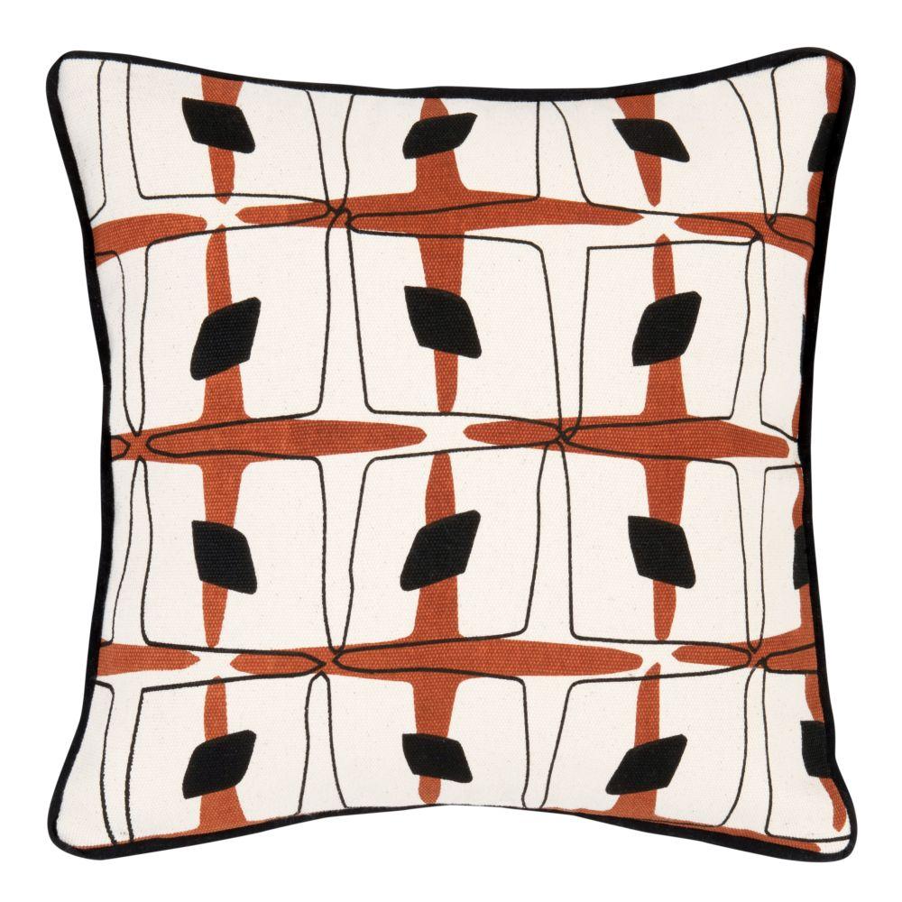 Kissenbezug aus Baumwolle, braun und gruen, mit Motiven 40x40