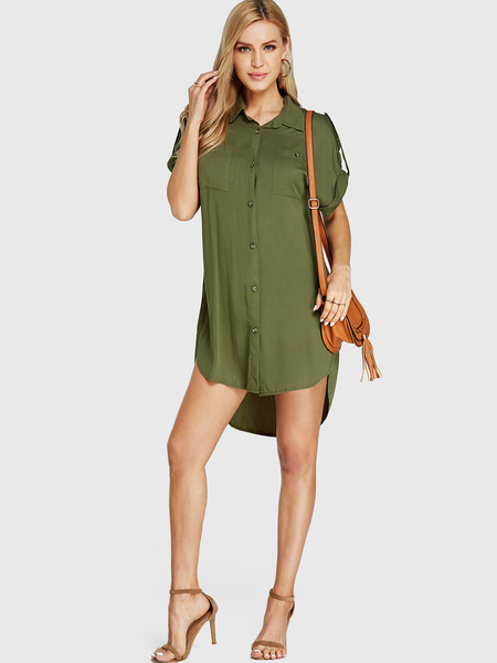 YOINS Army Green Classic Collar Button Front Dress
