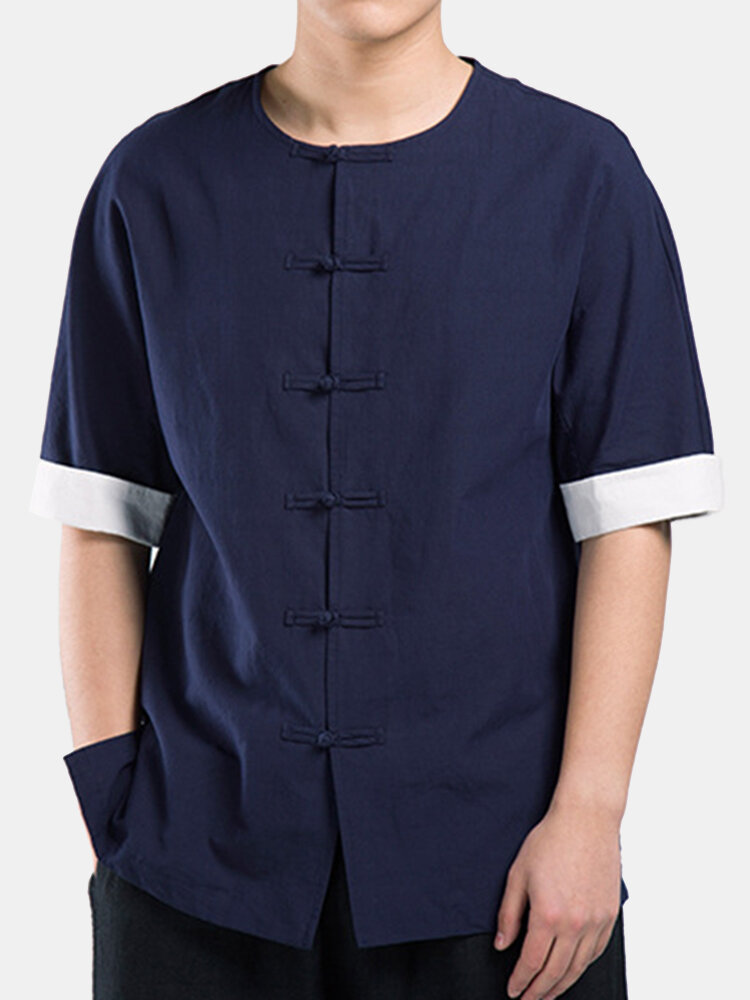 Linen Casual Chinese Buttons Patchwork Half Sleeve O Neck Thin Shirts for Men