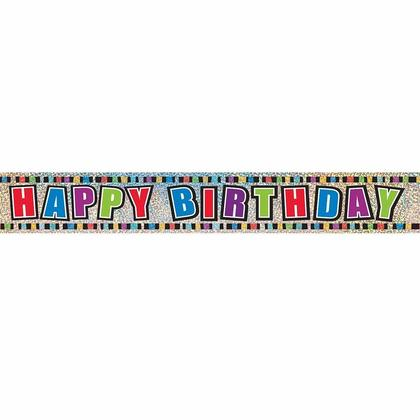 Multicolor Prismatic Foil Happy Birthday Party Decor Banner, 9ft