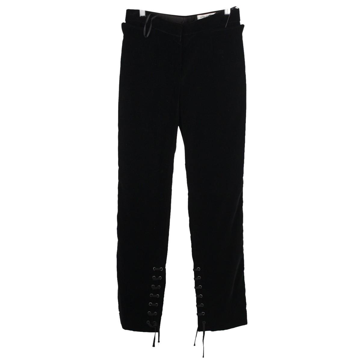 Yves Saint Laurent \N Black Velvet Trousers for Women XS International